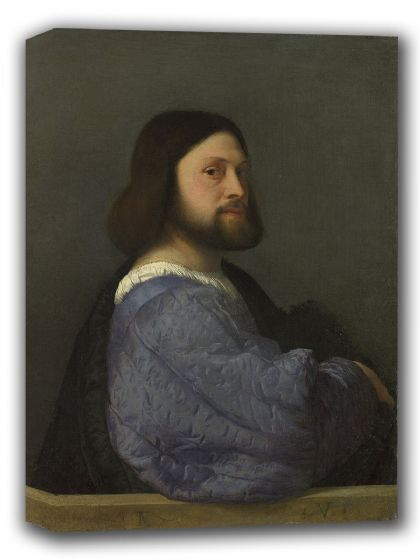 Titian (Tiziano Vecellio): Portrait of a Man with a Quilted Sleeve. Fine Art Canvas. Sizes: A4/A3/A2/A1 (001967)